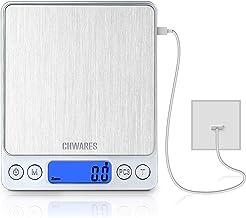 CHWARES Balance de cuisine numérique,charge USB,3 kg/0.1g,mini balance de cuisine électrique,balance numérique étanche,rec...