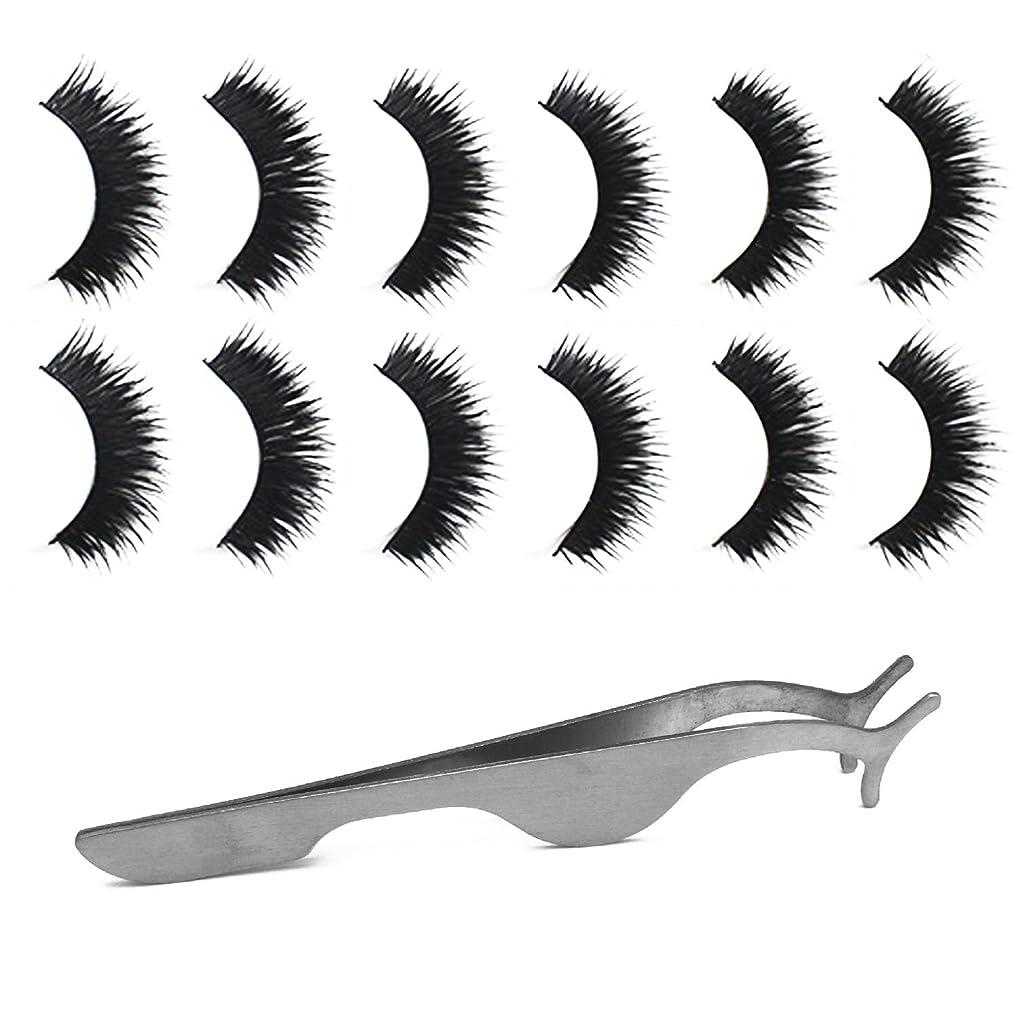 移植光のバンゴシレ Gosear 6ペア 厚い ダブルレイヤー 手作り 化粧 偽のまつげ 睫毛 美容ツール と 拡張 クリップ ピンセット