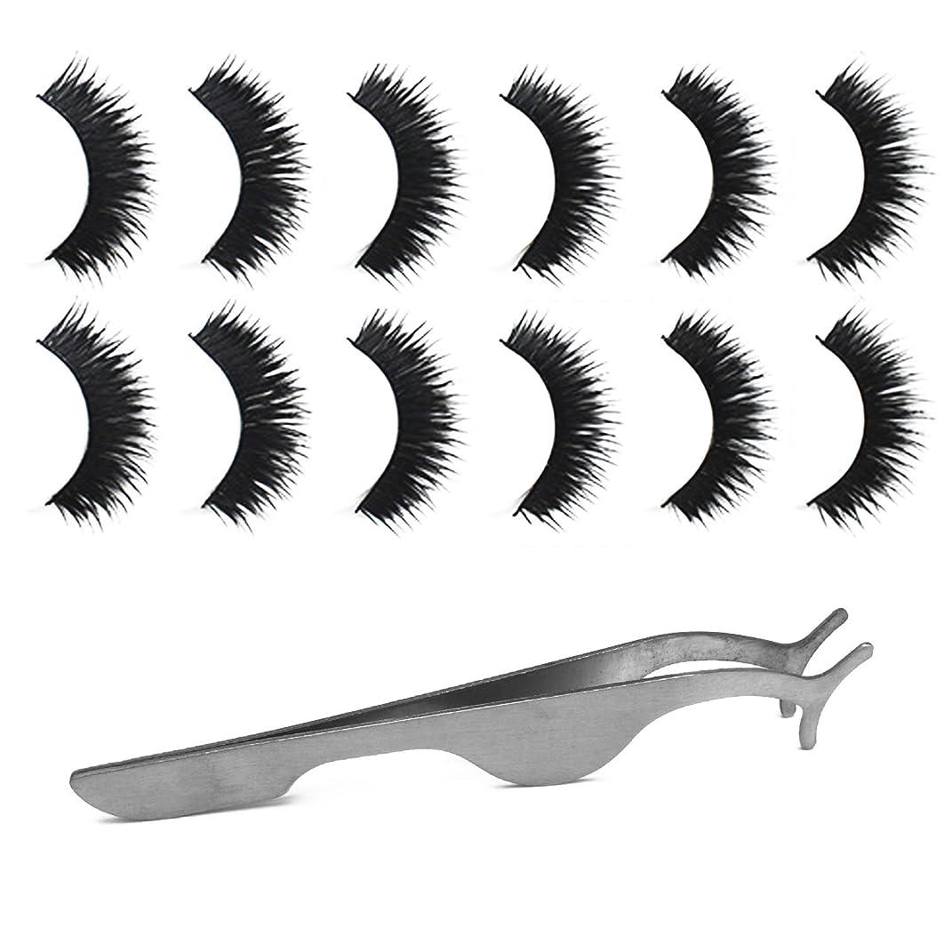 敵意うんざり車両ゴシレ Gosear 6ペア 厚い ダブルレイヤー 手作り 化粧 偽のまつげ 睫毛 美容ツール と 拡張 クリップ ピンセット