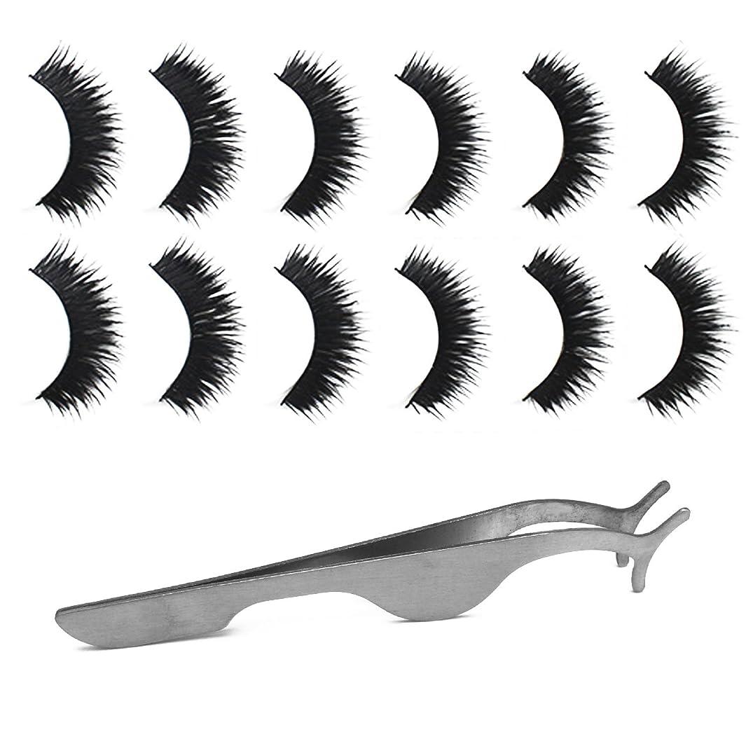 宅配便島ピンポイントゴシレ Gosear 6ペア 厚い ダブルレイヤー 手作り 化粧 偽のまつげ 睫毛 美容ツール と 拡張 クリップ ピンセット