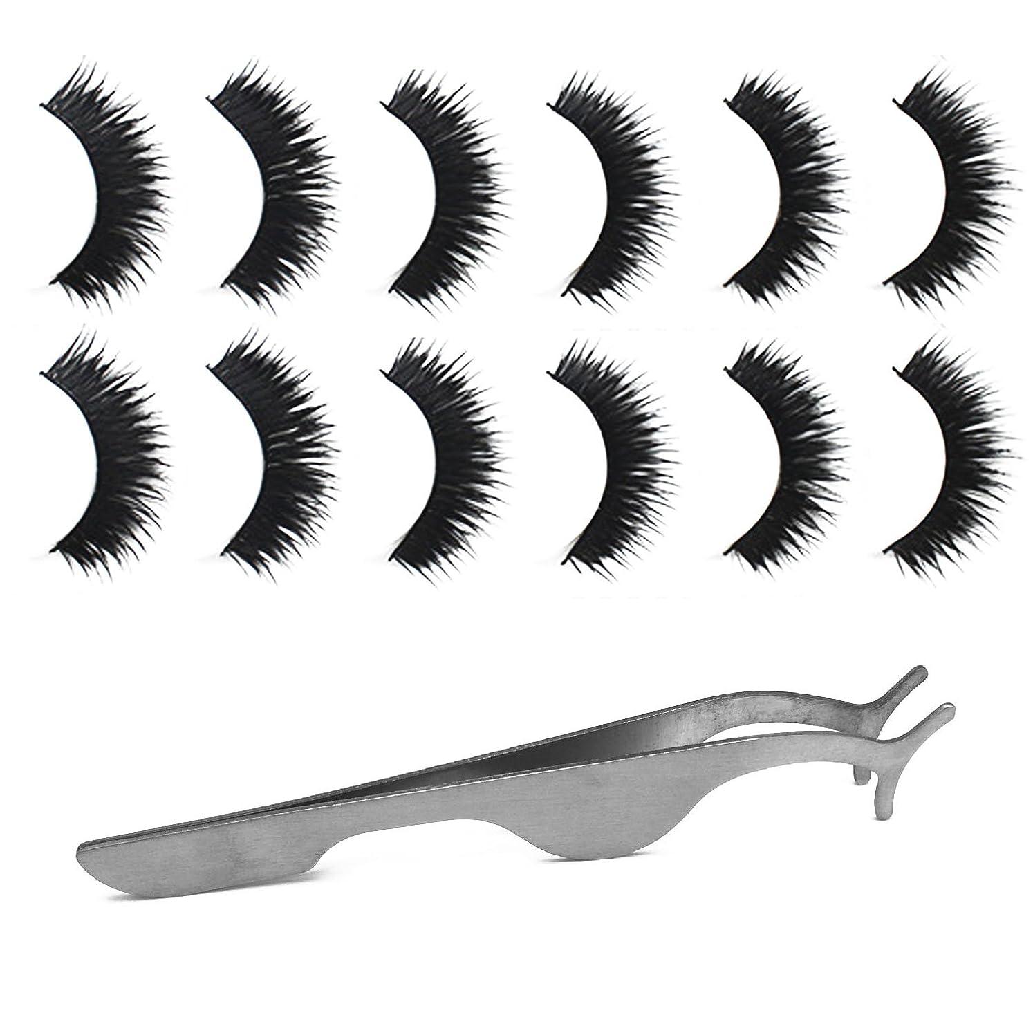 楕円形中世の囲むゴシレ Gosear 6ペア 厚い ダブルレイヤー 手作り 化粧 偽のまつげ 睫毛 美容ツール と 拡張 クリップ ピンセット