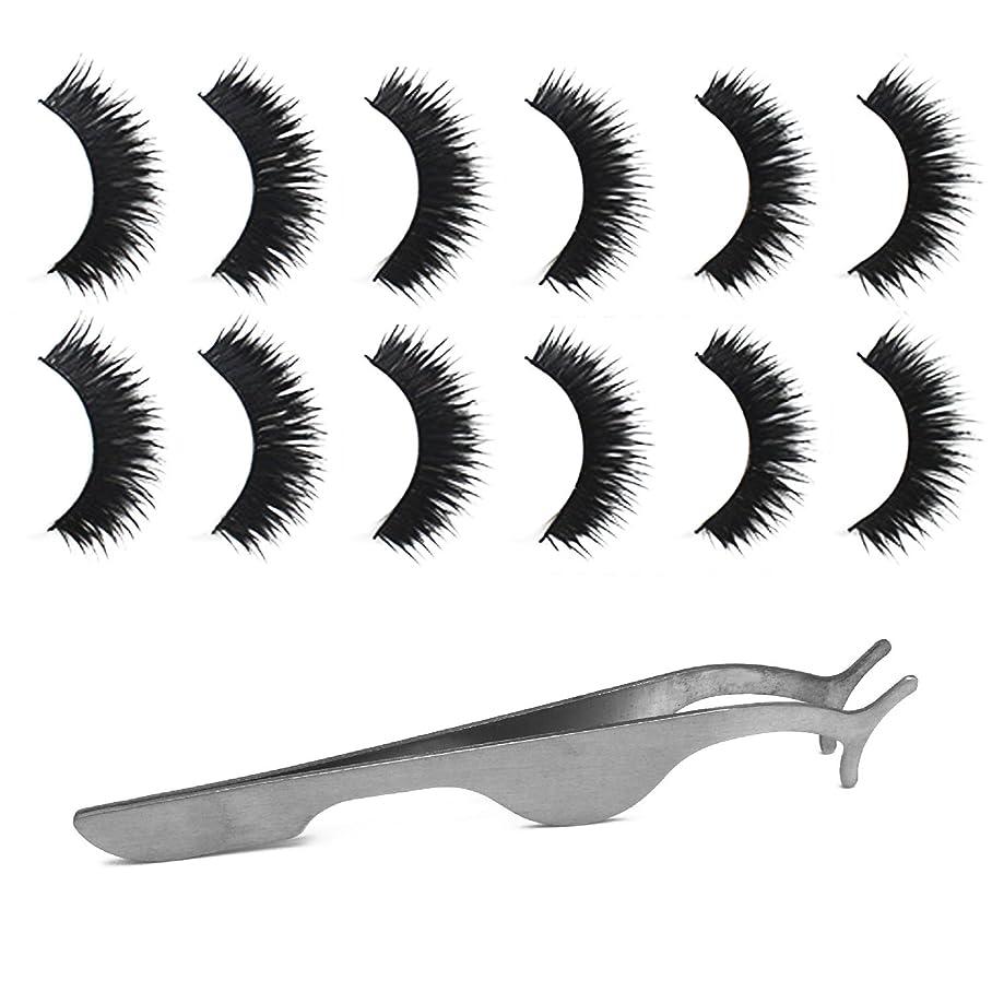 中央値主観的学校ゴシレ Gosear 6ペア 厚い ダブルレイヤー 手作り 化粧 偽のまつげ 睫毛 美容ツール と 拡張 クリップ ピンセット