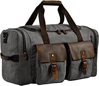 "Kopack Travel Duffle Bag for Mens w Waterproof Shoes bag/12.9inch Ipad Pocket, Canvas Crazy Horse Leather Weekender Overnight Pack for Gym/Weekend 22""x14""x10"" (Grey)"