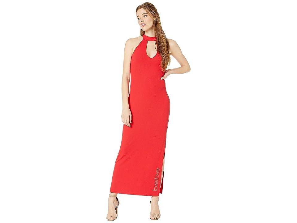 Bebe Deep V Halter Maxi Dress (Red) Women
