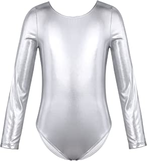 Girls Metallic Spandex Gymnastics Ballet Dance Leotard Jumpsuit Patent Leather Practice Clothes One-Piece Bodysuit