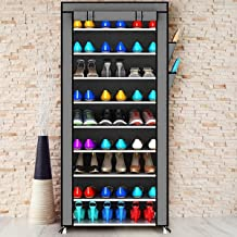 Zizer Shoe Racks for Home 9 Tiers Multi-Purpose Shoe Storage Organizer Cabinet Tower with Iron and Nonwoven Fabric with Zippered Dustproof Cover (Shoe Racks for Home)