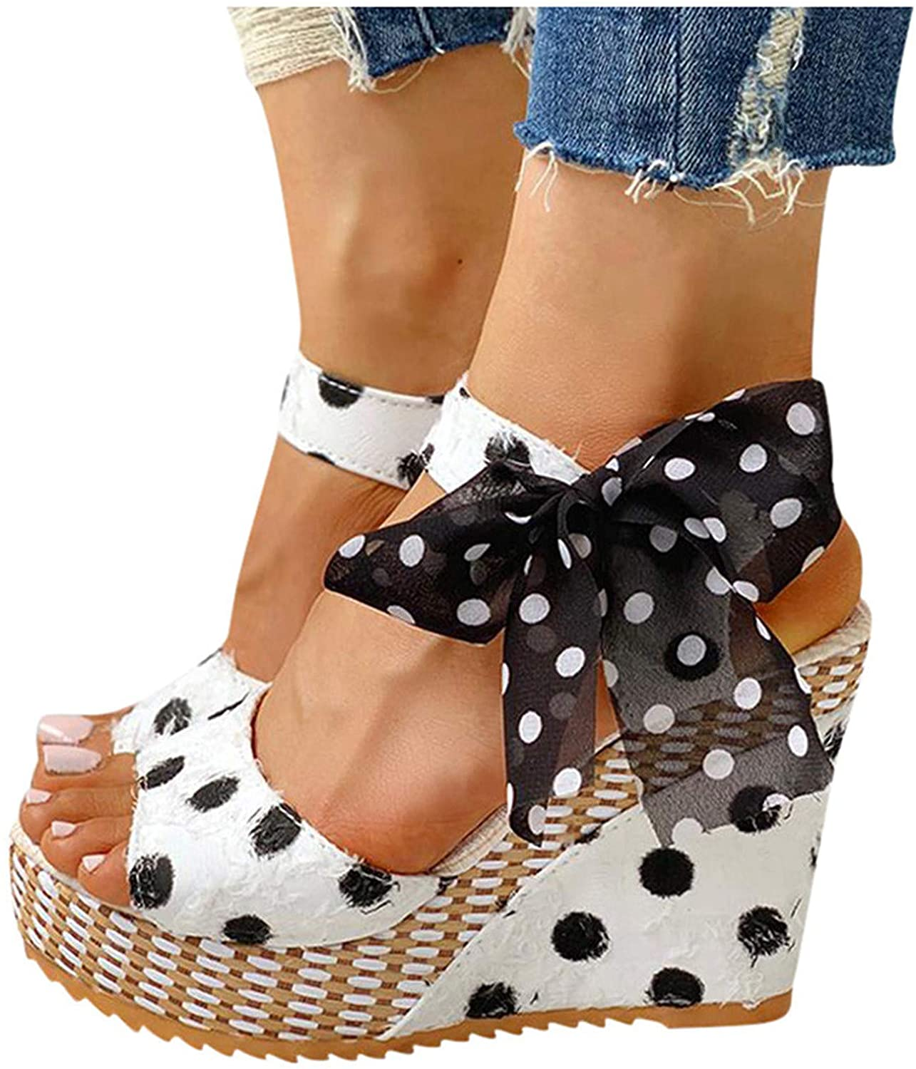 Xudanell Womens Sandals Daily bargain sale Casual Wedge Lace-up Dot Summer Limited time trial price