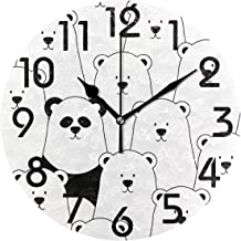 Naanle Trendy Pattern 9.5 Inch Round Fashion Wall Clock, Battery Operated Quartz Analog Quiet Desk Clock for Home,Office,School 9.5in Multi g12033715p239c274s441