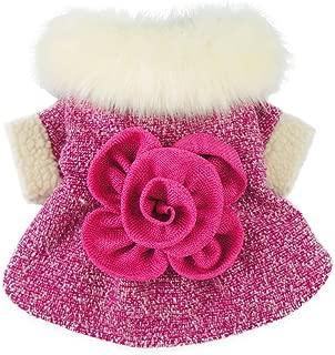 Fitwarm Elegant Pink Floral Faux Furred Dog Coats Pet Clothes Winter Dresses