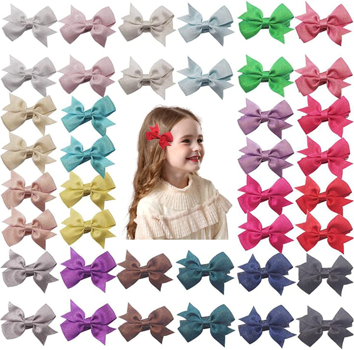 30 Pcs Baby Girl Hair Bow,FZBNSRKO Hair Bow Clips For Babies Hair accessories Gifts for Baby Girls(Random Color,2