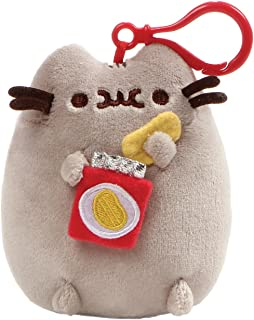 GUND Pusheen Snackable Chips Cat Plush Stuffed Animal Backpack Clip, Gray, 5