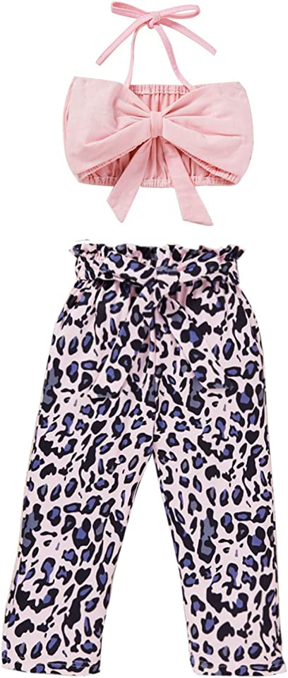 Baby Girl Summer Outfits Bowknot Halter Tube Tops + Floral Leopard Pants 2pcs Clothes Set
