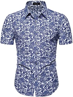 Men's Floral Casual Button Short Sleeve Hawaiian Shirt Large Size Men's Pendant Beach Vacation Shirt (Size : 4XL)