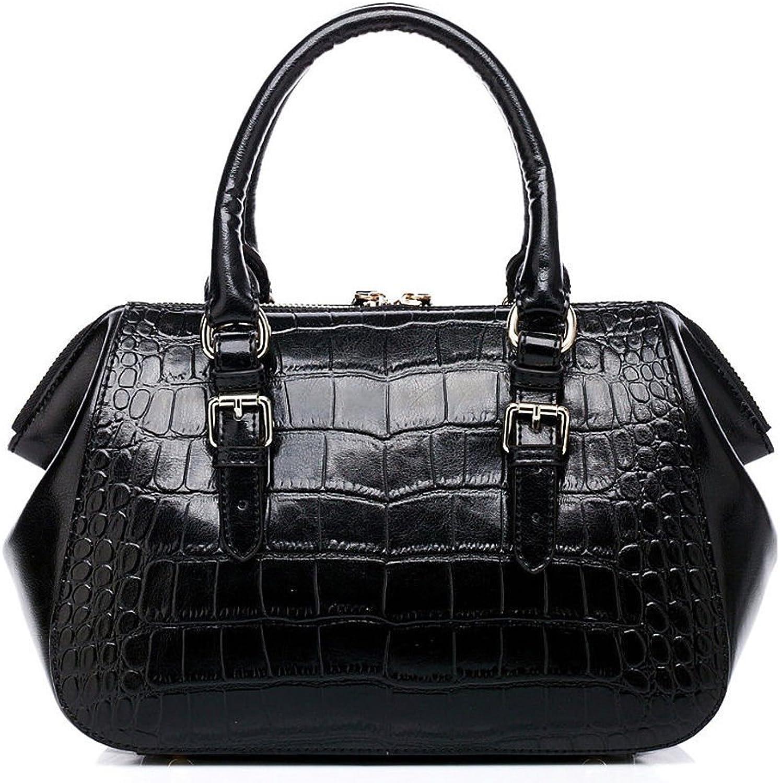 ALC Lena, 100% Leather Small Bubble Boston w Strap Black