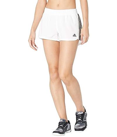 adidas Pacer 3-Stripes Woven Shorts (White/Black) Women