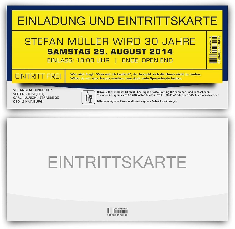 Einladungskarten zum Geburtstag (30 Stück) als Party Eintrittskarte Ticket Eintritt Einladung Karte individuell personalisiert B00KRBWAD2 | Um Zuerst Unter ähnlichen Produkten Rang
