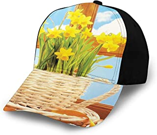 Unisex Daffodil Flowers Decor Wooden Windows Sky Classic Art Weave Basket For Kitchen Floral Bouquet Themed Blue White Brown Beige Yellow Green Fashion Plain Adjustable Baseball Cap Sun Cap