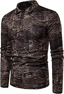 Mens Casual Printed Long Sleeve Button Down Polo Shirts