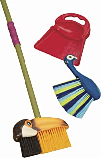 B. toys – Tropicleania Toy Broom Set – Pretend Play Toy Cleaning Playset with 1 Toucan Broom, 1 Dustpan & 1 Peacock Hand B...