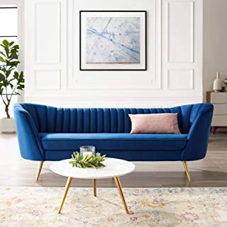 Modway Opportunity Channel Tufted Curved Back Upholstered Performance Velvet Sofa in Navy