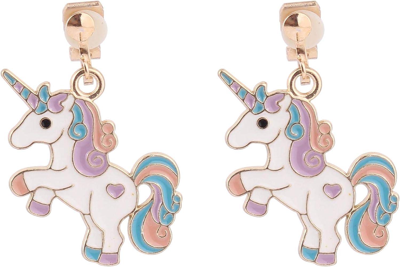 HAPPYAN Fashion Cute Enamel Unicorn Shape Clip on Earrings No Pierced Earrings Charm Jewelry Accessory