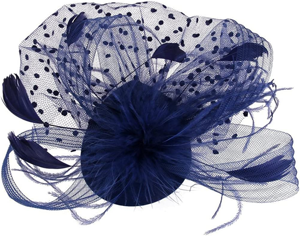OULII Feather Fascinator Sale special price Hair Clip Derb Hat Party Women Cocktail Outlet sale feature