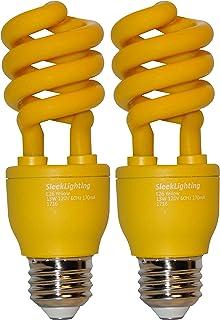 SleekLighting 13 Watt Yellow Bug Light Spiral CFL Light Bulb 120Volt, E26 Medium Base. (Pack of 2)