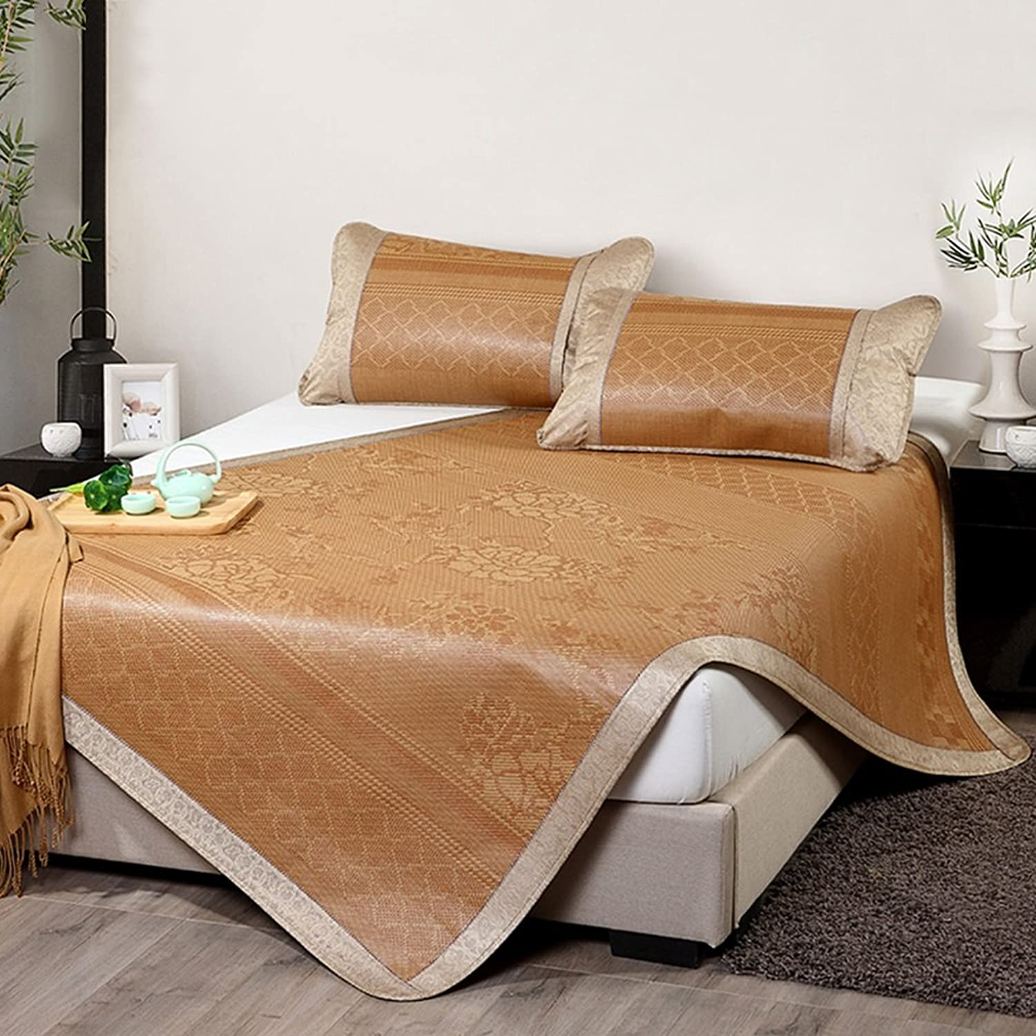 LIANGJUN Mattress Summer Sleeping Mat Rattan Woven Collapsible Cooling Comfortable Breathable Bedding Double Bed Single Bedroom Dormitory, 4 Sizes, 3 Types (color   3 -120X195cm)