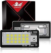 WinPower LED Luces de matrícula para coche Lámpara Numero plato luces Bulbos 3582 SMD con CanBus No hay error 6000K Xenón Blanco frio para A3 S3 A4 S4 RS4 A6 C6 S6 RS6 A8 S8 Q7, 2 Piezas