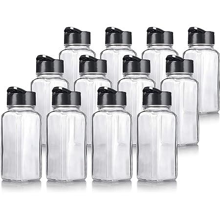 ginoya brothers Glass Spice Jar, Shaker/Pourer - 120 ml, 12 Pieces, Transparent