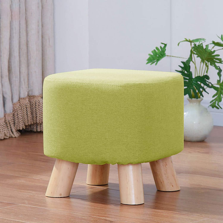 ATTDDP Pouf Tabouret Tissu Tabouret Rond - Place Footstool Lin Ottoman Fabric Pouf Chaise 4 Pieds en Bois Tabouret Rembourré pour Porter des Chaussures, 28 X 28 Vert,Beige Green