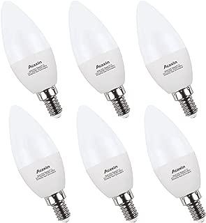 E12 Bulbs Candelabra LED Bulbs 60 Watt,Acaxin E12 Daylight 5000K LED Chandelier Bulbs,600 Lumen, Non-Dimmable,6 Pack