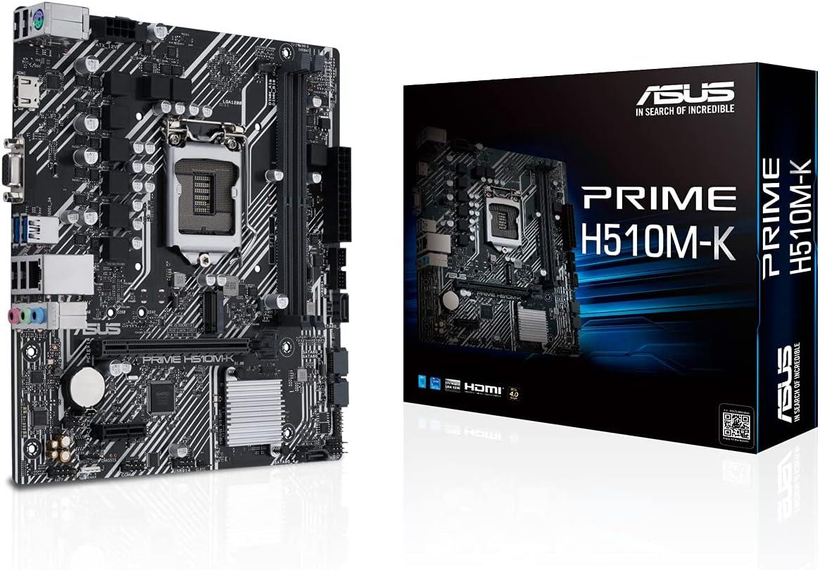 ASUS Prime H510M-K - Placa Base Micro-ATX (Intel H510 LGA 1200 con PCIe 4.0, Ranura M.2 de 32 Gbps, Intel 1 GB Ethernet, HDMI, D-Sub, USB 3.2 Gen. 1 de Tipo A, SATA 6 Gbps, Puerto COM y Conector RGB)