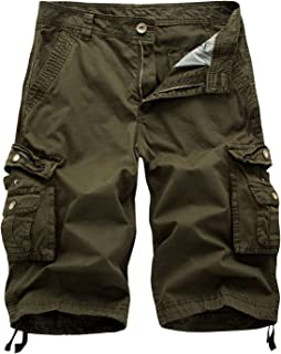 67ce5f60be AYG Mens Casual Shorts Cargo Shorts Walking Shorts Cotton Solid Color 30-38