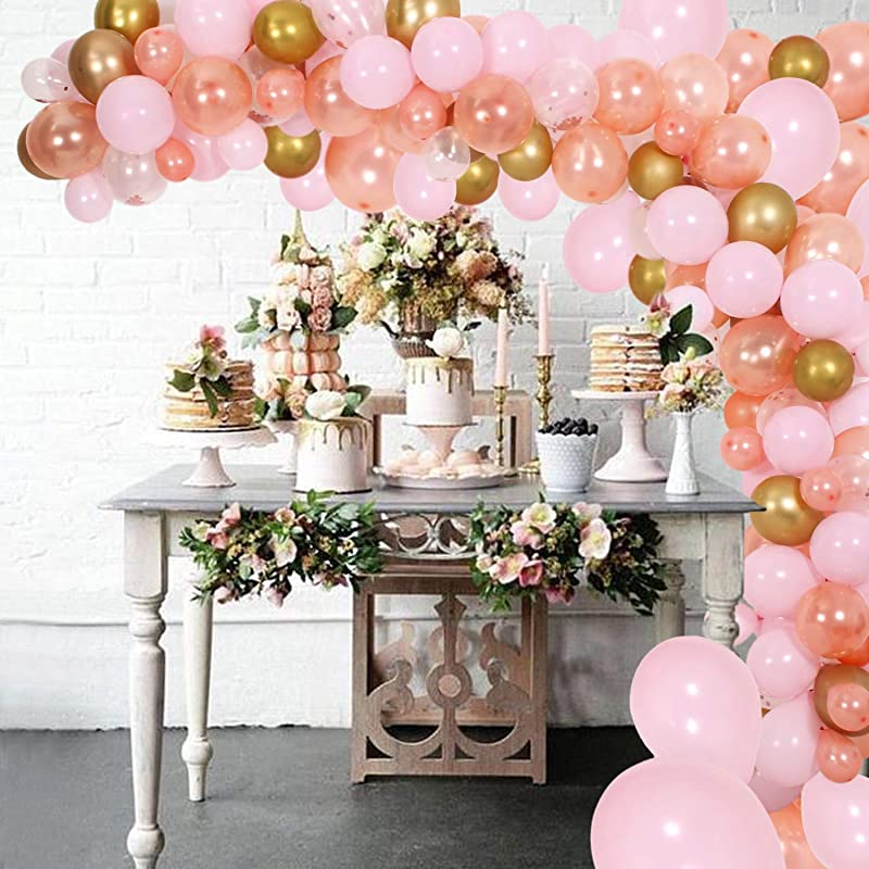 DIY Balloon Garland Kit Balloon Arch Party Supplies Decorations 140Pcs Pink Rose Gold Confetti Balloons Golden Ballons For Birthday Wedding Graduation Baby Shower Anniversary Organic Party