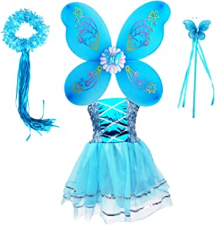 Princess Birthday Dress for Girl Party Tutu Dress Up Costume Butterfly Wings Halo Tutu Dress Fairy Wand