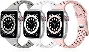 SNBLK Bands Compatible with Apple Watch Bands 38mm 40mm for Women, Breathable Slim Soft Silicone Sport Replacement Band for iWatch SE Series 6 5 4 3 2 1,Grey/White/Sand Pink