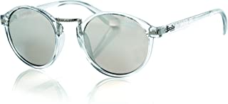 Superdry Round Unisex Sunglasses - gloss grey crystal/solid brown with silver mirror - SDCRESCENDO108-48-22-145mm