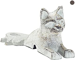 Vintage Cast Iron Cat Door Stop Wedge by Comfify | Lovely Decorative Finish, Padded Anti-Scratch Felt Bottom Protects Floors | in Antique White (Cat Door Stop CA-1507-19)