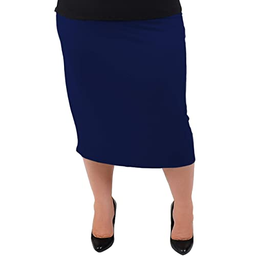 52c59e29acf Stretch is Comfort Women s Plus Size Comfortable Soft Stretch MIDI Skirt