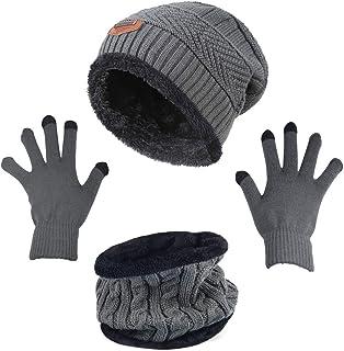 HINDAWI قفازات صغيرة مترهلة للنساء قبعة الشتاء متماسكة دافئة سنو الجمجمة كاب شاشة لمس قفازات