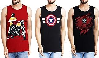 Leotude Men's Sleeveless Cotton T-Shirt Combo Pack of 3