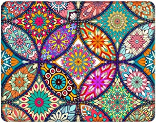 Nakapa Anti Slip Mouse Pad Rubber Round Mousepads Desktop Notebook Mouse Mat for Working and Gaming 260X210mm (Colorful Mandala)