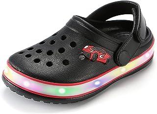 SANSHIERLI Kids' Clogs LED Garden Shoes Boys Girls Mules Light up Sandals Slip on Lightweight Non-Slip