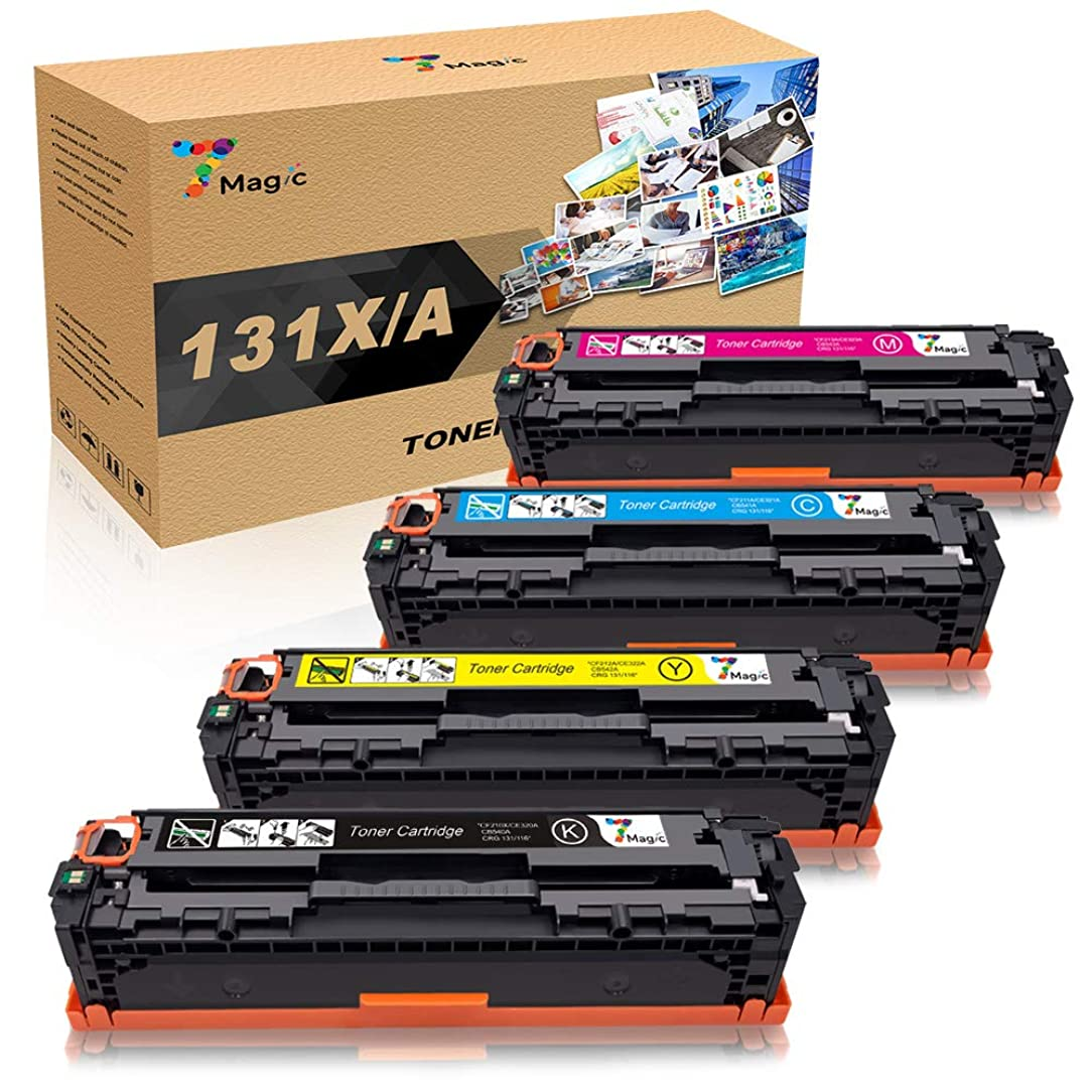 7Magic Compatible Toner Replacement for HP 131A 131X Canon 131 131H 116 CF210A CF210X CF211A CF212A CF213A HP Laserjet Pro 200 Color M251nw M251n M251 M276n M276nw Canon MF8280Cw Printer Ink (4 Pack)
