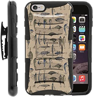 TurtleArmor | Compatible with Apple iPhone 6 Case | iPhone 6s Case [Hyper Shock] Armor Solid Hybrid Kickstand Impact Silicone Holster Belt Clip Sports and Games - Fishing Hooks