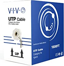 VIVO Gray 1,000ft Bulk Cat5e, CCA Ethernet Cable, 24 AWG, UTP Pull Box | Cat-5e Wire, Indoor, Network Installations (CABLE-V001)