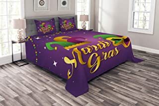 Lunarable Mardi Gras Bedspread, Fat Tuesday Themed Hat and Mask with Beads and Calligraphic Image, Decorative Quilted 3 Piece Coverlet Set with 2 Pillow Shams, Queen Size, Quartz and Multicolor