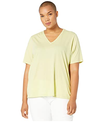 Eileen Fisher Plus Size Organic Cotton Jersey V-Neck Short Sleeve Top (Lemon Ice) Women