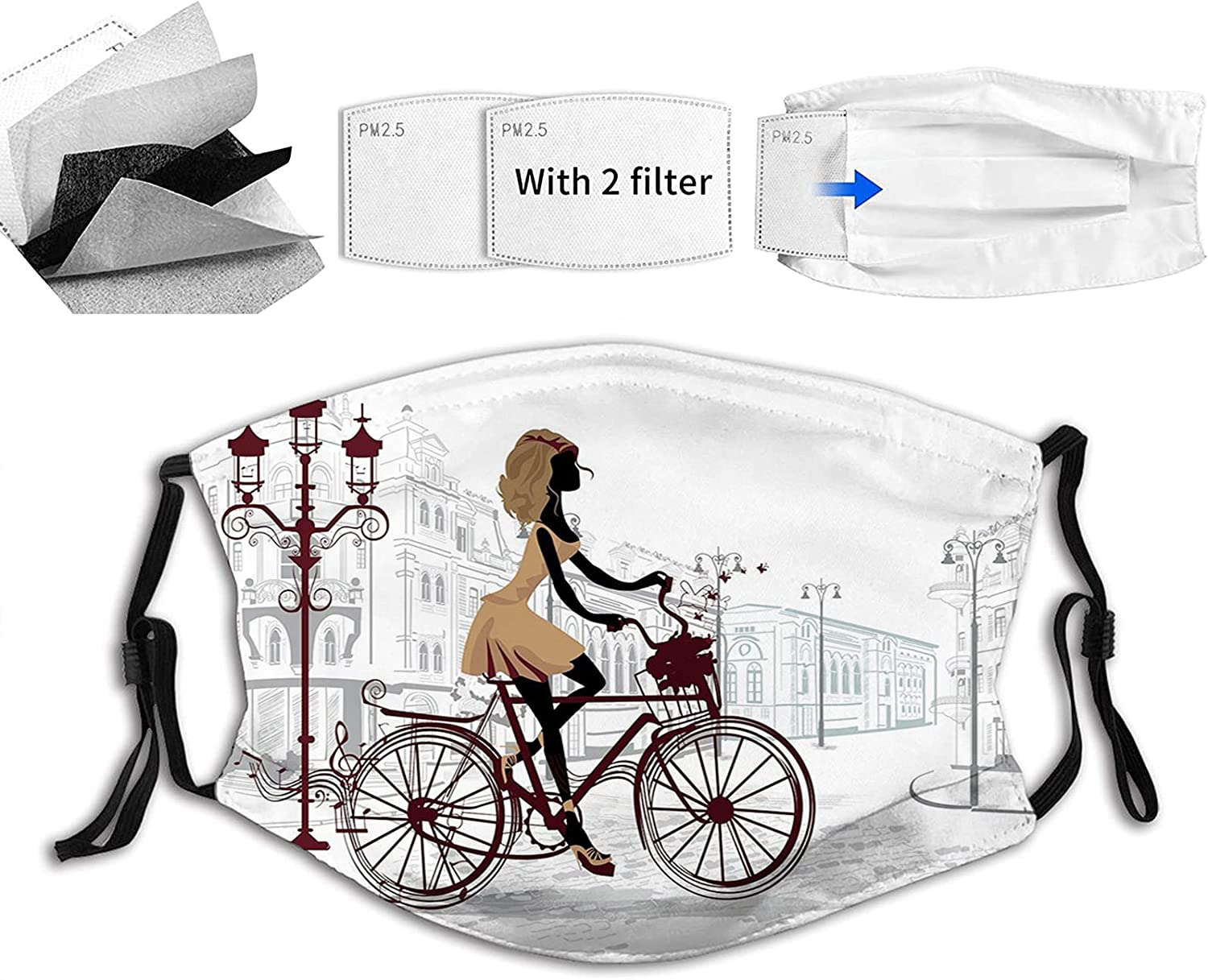 Young Girl in Paris Streets with San Francisco Mall French Comfortable Display OFFicial shop Bike